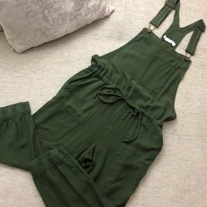 New York & Company Olive Crop Jogger Overalls